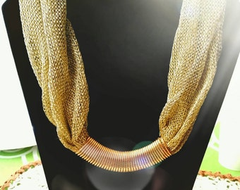 After Life Accessories: Handmade GoldMesh Scarf Pendant Necklace