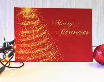 Red Christmas Card, Merry Christmas, Christmas Card Pack, Seasons Greetings, Holiday Cards