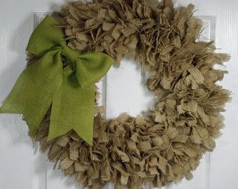 "24"" Burlap Wreath Choice of Color Rag Wreath Year Round Wreath Burlap Rag Wreath"