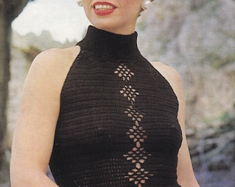 Vintage crochet PDF pattern crocheted halter style top sleeveless INSTANT download pattern only 1970s