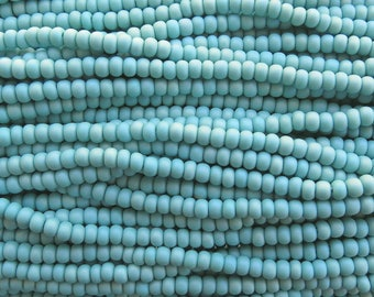 6/0 (1.00 hole size) Matte Opaque Turquoise AB Czech Glass Seed Bead Strand (CW116) SE