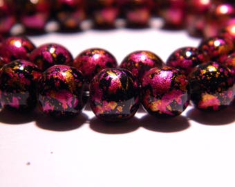 30 bright decorated glass - beads 8 mm - bright and copper PG100 3 fuchsia tones