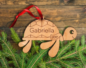 Wooden Sea Turtle Ornament: Personalized Name, Ocean, Beach, Coastal, Nautical Ornaments, Baby's First Christmas, Boy or Girl