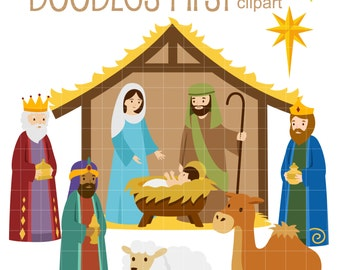 Nativity Scene Digital Clip Art for Scrapbooking Card Making Cupcake Toppers Paper Crafts