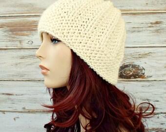Cream Womens Hat - Imogen Ribbed Beanie in Cream Knit Hat - Cream Hat Cream Beanie Womens Accessories Winter Hat