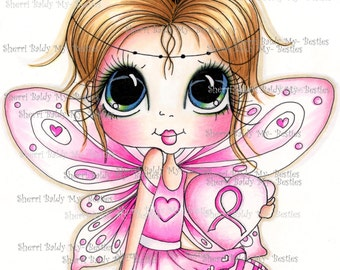 INSTANT DOWNLOAD Digi Stamps Big Eye Big Head Dolls Digi Bestie Fairy For A Cause Hope By Sherri Baldy