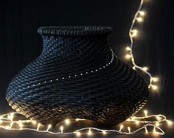"Black basket,woven with svarovsky crystals, ""path of light"" - medium size"