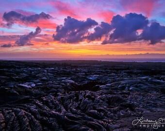 "Hawaii Photo | ""Kalapana Sunrise"" | Big Island Hawaii Photo - Hawaii Sunset Print - Hawaii Lava Photo - Lava Field Hawaii - Hawaii Sunrise"