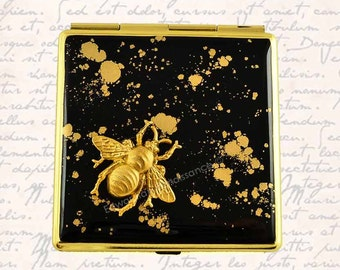 Queen Bee Square Compact Mirror Inlaid in Hand Painted Black Enamel with Gold Splash Neo Victorian Design with Personalized Options