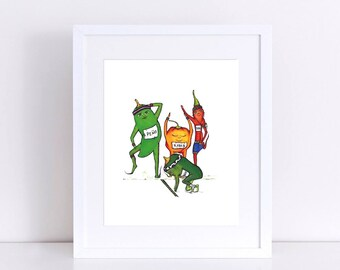 Hot PEPPERS Race - ART PRINT - illustration, kitchen art, home decor, nursery decor, jalepeno