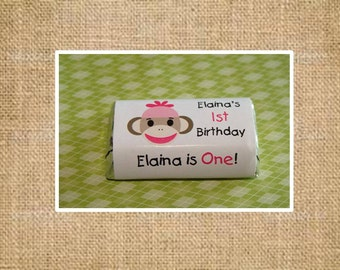 Personalized Sock Monkey Mini Candy Bar Wrappers for Girl Boys 1st 2nd 3rd 4th Birthday ~ Baby Shower Party Favors perfect for goody bags