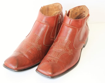 Camel Brown leather dress boots Vintage 70s Brown Beatle Boots Leather Talon Zipper Shoes Tooled Ankle Boots   Us 9,5