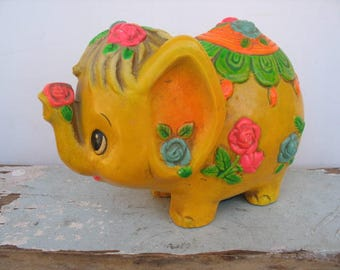 Paper Mache Elephant Bank 1969, Kitsch Yellow Floral Elephant, Mid Century Mod, Made By Holiday Fair