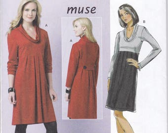 FREE US SHIP Butterick 5523 Sewing Pattern Muse Cowl Neck Empire High Waist Dress Size 16 18 20 22 24 Bust 38 40 42 44 46 Factory Folded