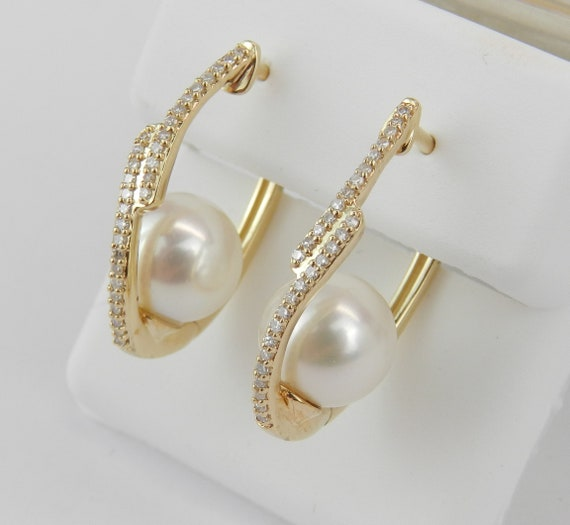 Pearl and Diamond Unique Hoop Earrings 14K Yellow Gold June Birthstone Wedding Gift