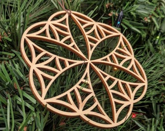 Seed-Flower 1 Holiday Ornament - Laser Cut Wood Wooden Sacred Geometry Symbol Christmas Conscious Xmas Decoration