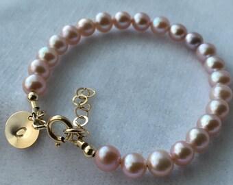Pink Freshwater Pearl Bracelet, Gold Freshwater Pearl Bracelet, Gold Initial Pearl Bracelet, Flower Girl Bracelet,Junior Bridesmaid Bracelet