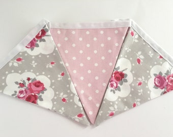 Fabric Bunting Floral Bedroom Wall Flag Hanging Shabby Chic Handmade