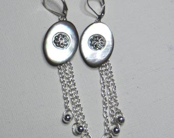Mother of pearl earrings and chains - #744