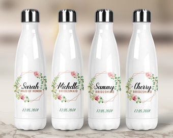 Bridesmaid Water Bottle - Bridesmaid Gift - Personalized With Name, Stainless Steel, Swell Style, Floral, Rose Gold, Wedding Gift, Proposal