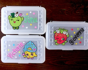 personalized pencil box, hand painted, custom school supplies storage, back to school, party favor, storage case