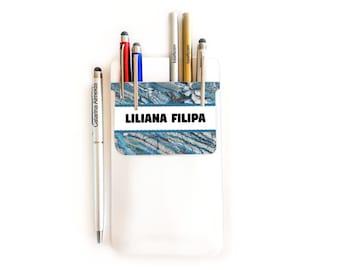 Customized pocket pen holder - elegant blue marble theme - PO33