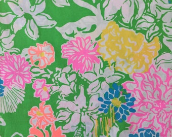 "hibiscus stroll poplin cotton fabric square 17""x17"" ~ lilly pulitzer"