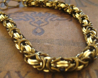 Chainmaille Bracelet Kit -- Vintage bronze and Gold Byzantine Weave