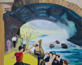 Oil painting-abstract-Dancing at the Seine