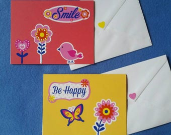 Two Handmade Greeting Cards - Smile and Be Happy Blank Cards with cute flowers, bird, butterfly - coral and yellow