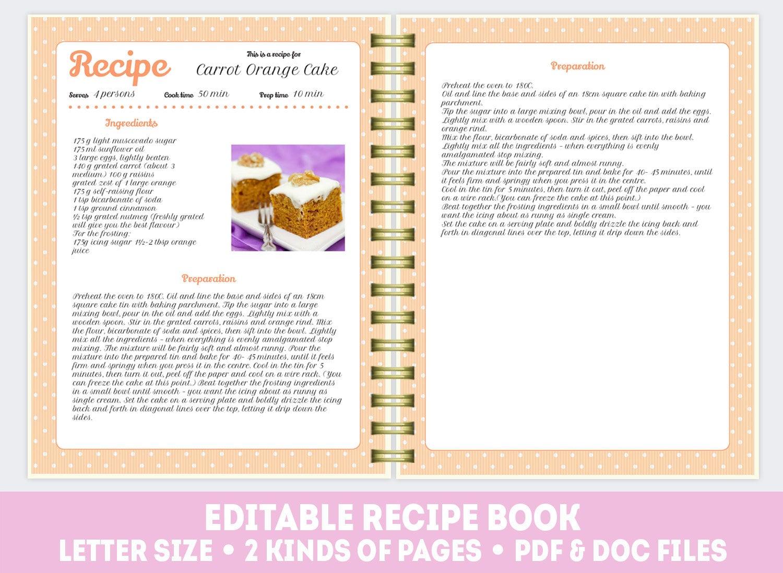 Recipe template Cook book doc pdf pattern Editable recipe