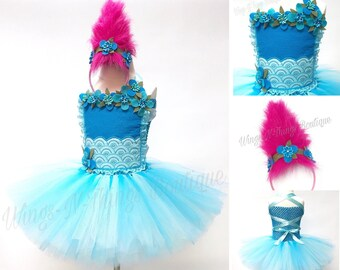 TROLL TUTU DRESS, Princess Costume, Girls Halloween Costume, Pink Hair Headband, Flower Crown, Children, Infant, Baby, Child, Kids