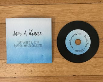 Custom Watercolor Ombre Wedding or Birthday CD Sleeve Party Favor or Save the Date