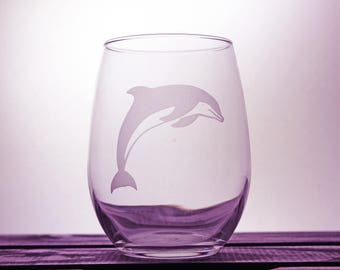Dolphin Glass - Wine Glassware - Sea Life - Nautical - Underwater - Etched - Gift Ideas - Gifts for Her - Gifts for Him - Customized