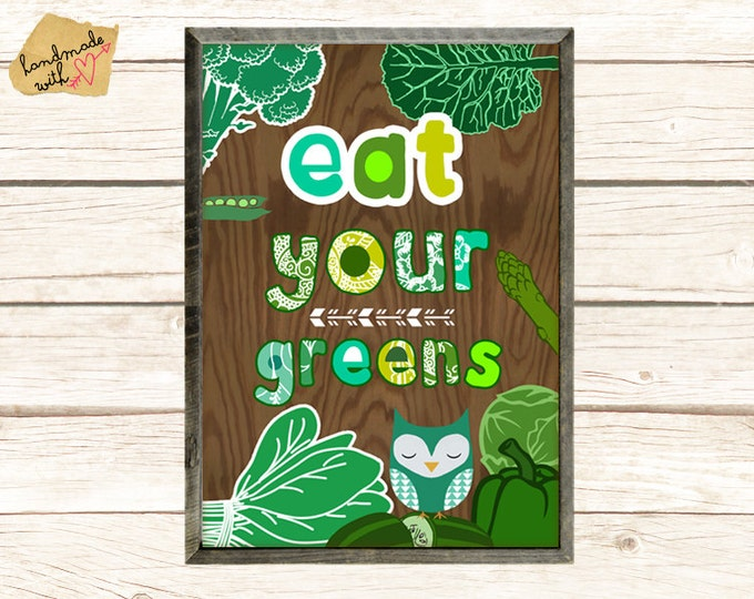 NEW A3 Size: Eat your greens kitchen wall art, cute owl collage