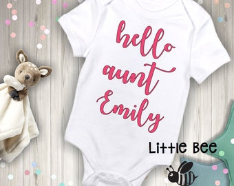 Hello aunt, You're going to be an aunt, Birth announcement, New aunt, New Baby, Body Suit, New Baby, Pregnancy Reveal, First time aunt