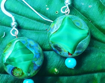 Mytical Green Czech Glass with Turquoise and Sterling Silver Earrings