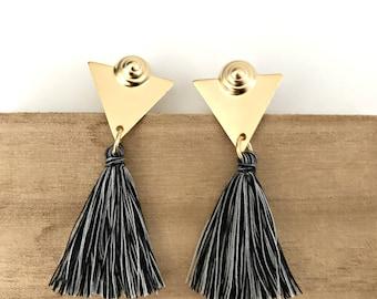 Tassel stud earrings, gold triangle earrings, gray tassel earrings, Nulika.