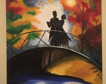 Abstract Acrylic Canvas Painting - A couple dancing the night away