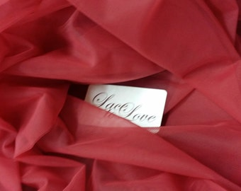 "Red tulle fabric, lingerie tulle fabric, evening dress tulle, flower dress tulle, - 59"" (150 cm) wide - sold per meter T13139"