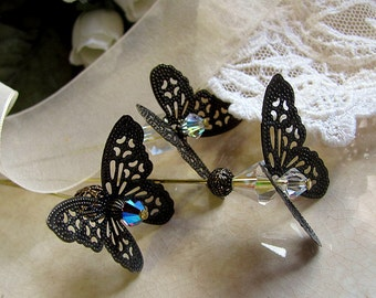Wonderland Flutterby Butterfly Victorian Hat Pin, Bridal Bouquet Accessory, Wedding Memento