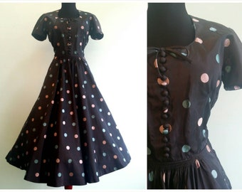 Vintage 1950s | Cotton Candy Polka Dot Party Dress | xsmall  | 2