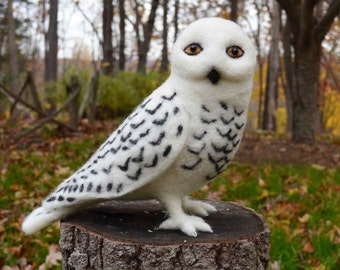 Mr. Snowy Owl, needle felted bird sculpture 12 inches