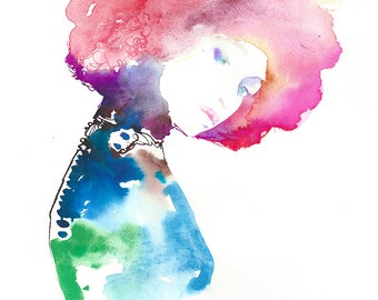 Hair fashion Illustration, Watercolor Fashion Print, Fashion Painting, Fashion Sketch, Fashion Wall Art, Pink Afro Painting, Cate Parr