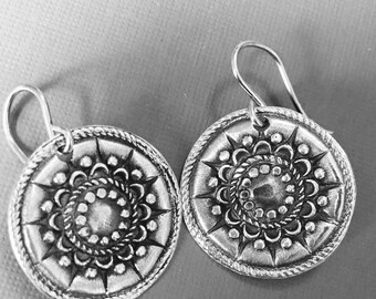 Boho Rustic Fine Sterling Silver Circle Drop Earrings- Hand Created- Twelve Point Flower