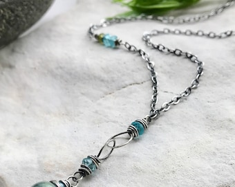 Fluorite Necklace, Green & Blue Necklace, Fluorite Pendant, Yoga Jewelry, Wire Wrapped Sterling Silver Fluorite Necklace with Peridot
