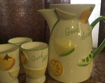 Vintage Juice Pitcher and Cups
