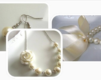 Flower necklace, wedding jewelry for brides, wedding jewelry set, wedding jewelry for bridesmaids, bridal jewelry, jewelry sets of 3, pearl