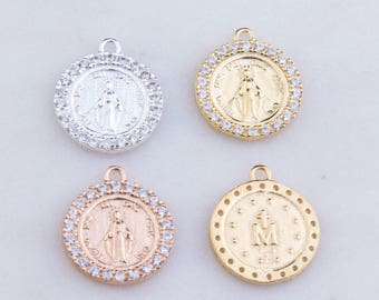 Virgin Mary Latin Round Pendant with CZs in Sterling Silver, Gold Plated OR Rose Gold Plated, Miraculous Medal Charm, Catholic Charms CM157R