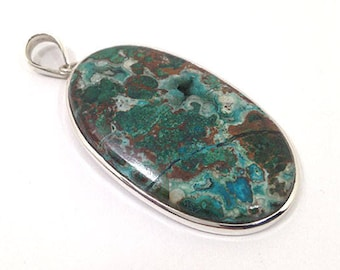 """Chrysocolla Druzy Pendant 2.7"""" Lenght 119.5Ct 925 Solid Sterling Silver Natural Gemstone Green Chrysocolla p-353"""